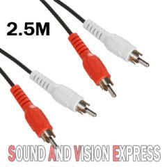 2.5m Audio or Signal Cable Lead 2.5 Metre ( Twin RCA Phono male to RCA Phono Male)